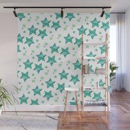 Twinkle little green stars Wall Mural