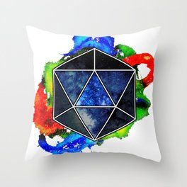 d20 Icosahedron of Imagination Throw Pillow