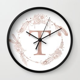 Letter T Rose Gold Pink Initial Monogram Wall Clock