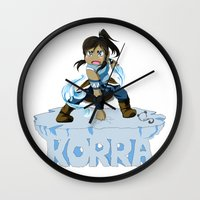 the legend of korra Wall Clocks featuring Korra by HelloTwinsies
