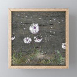 Rustic Barn Wood Series: Dandelion Seeds Fly Away Framed Mini Art Print