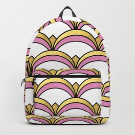 Pink and Gold Art Deco Pattern Backpack