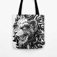 lion Tote Bags featuring Lion by BIOWORKZ