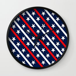 Patriotic red white blue stars Wall Clock