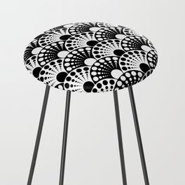 black and white art deco inspired fan pattern Counter Stool