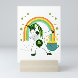 Funny dabbing unicorn St Patricks day graphic - Ireland fans Mini Art Print