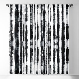 Tie-Dye Shibori Stripe BW Blackout Curtain
