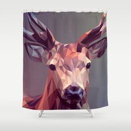 Colorful Polygons Abstract Deer Shower Curtain