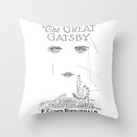 the great gatsby Throw Pillows featuring The Great Gatsby by S. L. Fina