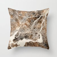 montreal Throw Pillows featuring Montreal by Map Map Maps