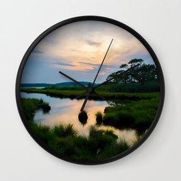 Sunset on the Marsh Wall Clock