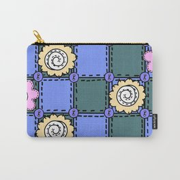 Retro Vintage Style Doodle Quilt - Green Blue Pink Carry-All Pouch