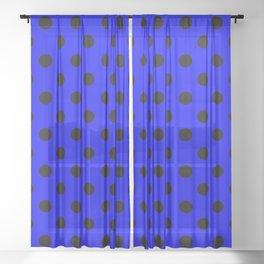 Polka Dots (Black & Classic Blue Pattern) Sheer Curtain