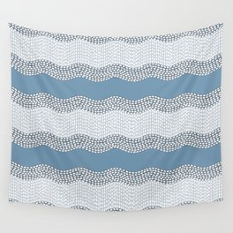 Wavy River VI in blue and grays Wall Tapestry