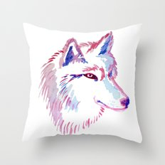 Wolf Watercolor Print Throw Pillow