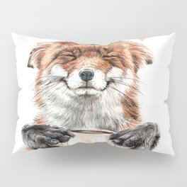 """ Morning fox "" Red fox with her morning coffee Pillow Sham"