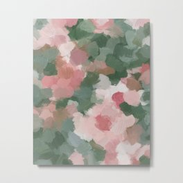 Light Pink Rose Flower Forest Sage Green Leaf Garden Abstract Nature Painting Art Print Wall Decor  Metal Print
