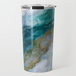 Wild Rush - abstract ocean theme in teal gray gold, marble pattern Travel Mug