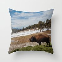 bison Throw Pillows featuring Bison by Mikey Price