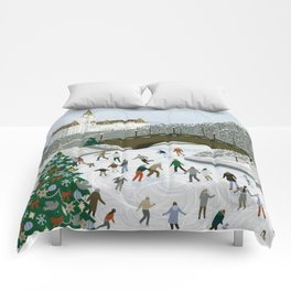 Ice skating pond Comforters