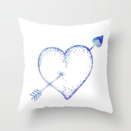 Blue Watercolor Crystal Heart Throw Pillow