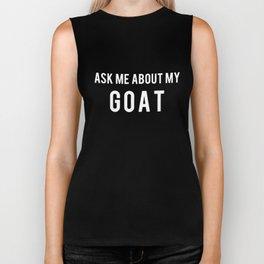 Womens Ask Me About My Goat Flip Up Cute Farm Animal Slim Fit Tee farm Biker Tank