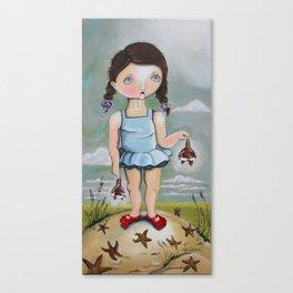 Suzie Saves Starfish by the Seashore Canvas Print