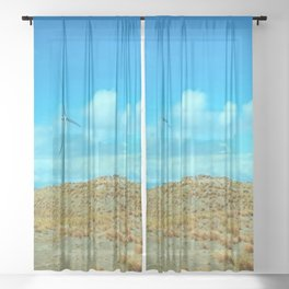 Wind Mills On The Summer Blue Sky Sheer Curtain