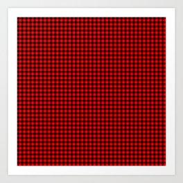 Mini Red and Black Cowboy Buffalo Check Art Print