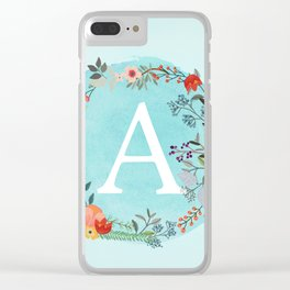 Personalized Monogram Initial Letter A Blue Watercolor Flower Wreath Artwork Clear iPhone Case
