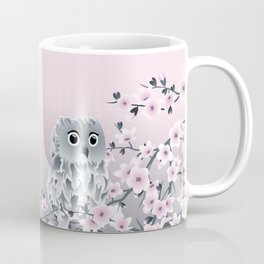 Cute Owl and Cherry Blossoms Pink Gray Coffee Mug