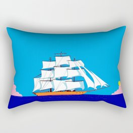 A Clipper Ship at Sunset, Pink clouds and Sun, Nautical Scene Rectangular Pillow