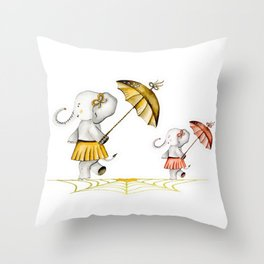 Cheerfull Elphants Throw Pillow