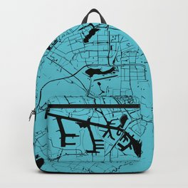 Amsterdam Turquoise on Black Street Map Backpack