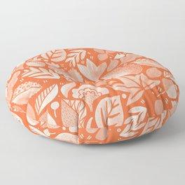 Psychedelic Folk Art Woodland Floral - Boho Botanical - Poppy Red Orange Floor Pillow