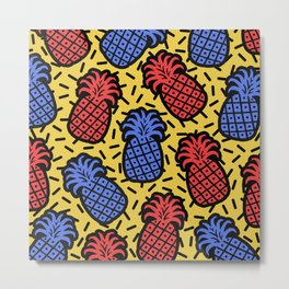 Memphis Pineapple Pattern 224 Metal Print