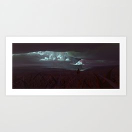 Cloudspillargrassfield Art Print