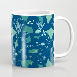 Stingrays Manta Rays Coral Reef Pattern Coffee Mug