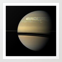 """""""Catching its Tail"""" huge storm on Saturn Art Print"""