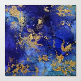Gold And Blue Indigo Malachite Marble Canvas Print