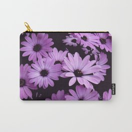 Black & Lilac Color Purple Daisies Carry-All Pouch