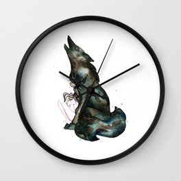 INTO THE NIGHT I - Girl and Wolf Wall Clock