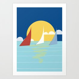 Sun, ocean and sails Art Print