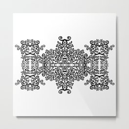black and white vintage pattern I Metal Print