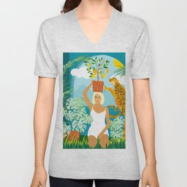Bring The Jungle Home Illustration, Tropical Cheetah Wild Cat & Woman Painting Unisex V-Neck