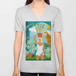 Bring the jungle home #illustration #painting Unisex V-Neck