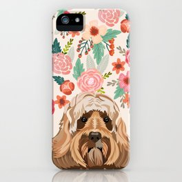 Labradoodle portrait floral dog portrait cute art gifts for dog breed lovers iPhone Case