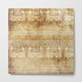 Vintage. The old lace. Vintage fabric . Metal Print