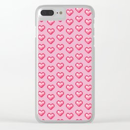 pink pixel hearts Clear iPhone Case