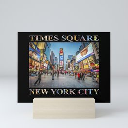 Times Square Sparkle (with type on black) Mini Art Print